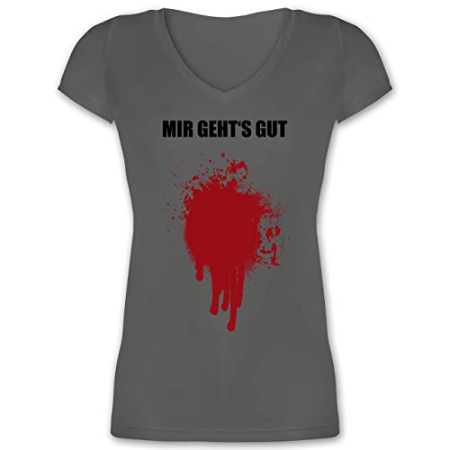 Kostüm Ideen Originelle Gute Für - Halloween - Mir geht's gut Blutfleck Kostüm - XS - Anthrazit - XO1525 - Damen T-Shirt mit V-Ausschnitt