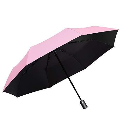 Regenschutz Outdoor Funktionstasche Regenfest Travel Sun Rain Umbrella für Damen Unbreakable Large Canopy Ergonomic Handle Auto Open Compact (Color : Rosa)