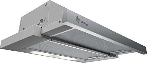 Balay 3BT262MX Telescópica o extraplana Acero inoxidable 300m³/h D – Campana (300 m³/h, Canalizado/Recirculación, E, D, D, 62 dB)