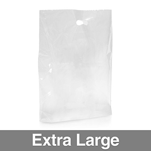 Confezione di 500] trasparente Sacchetti di plastica con maniglia XL Clear