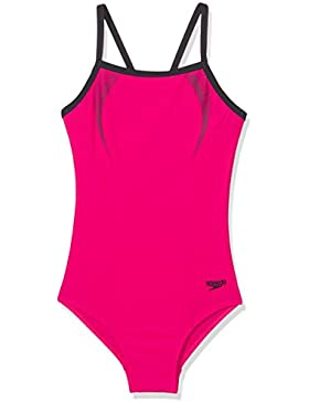 Speedo Sports Logo Thinstrap Muscle Back, Traje de Baño para Niñas, Rosa, 176