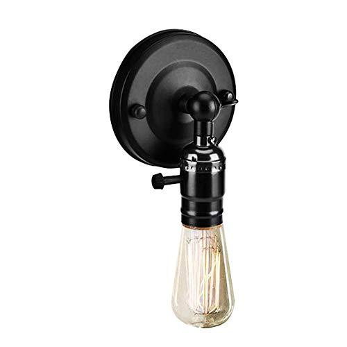Vintage Light Holder E27 Edison Retro Wandleuchte mit Schalter für den Heimgebrauch und Dekoration 220V Silber(Schwarz)