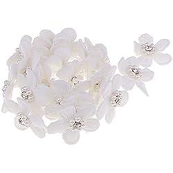 MagiDeal 1 Yard Blumen Stickerei Bänder Satinband Seidenbänder Schleifenband Hochzeit Dekoband Satin Geschenkband - Weiß, 1 Yard