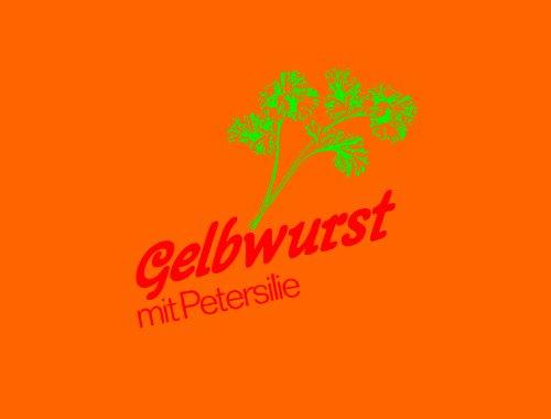 """Kunstdarm top gelb Kaliber 60/50 Druck: """"Gelbwurst mit Petersilie"""""""