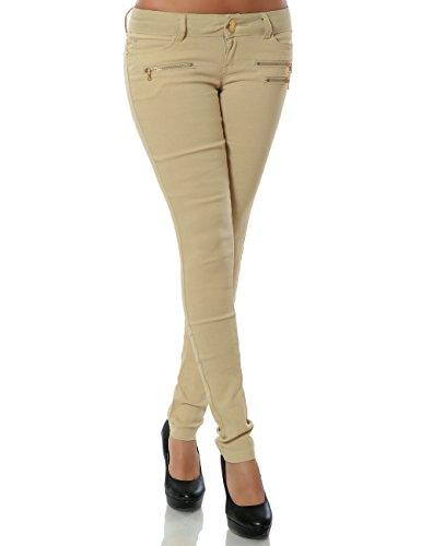 Damen Hose Treggings Skinny Röhre (weitere Farben) No 15528, Farbe:Beige;Größe:34 / XS