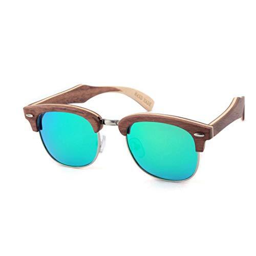 Polarisierte Sonnenbrille mit UV-Schutz Damen Niet Dekoration Halbrandlose Polarisierte Holz Sonnenbrillen Handgemachte Hochwertige Sonnenbrillen UV Schutz Fahren Sonnenbrillen Strand Sonnenbrillen Su