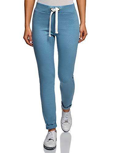 oodji Ultra Damen Jersey-Hose im Sport-Stil mit Dekorativen Bindebändern, Blau, DE 42 / EU 44 / XL (Im Mit Dumm Tshirt)