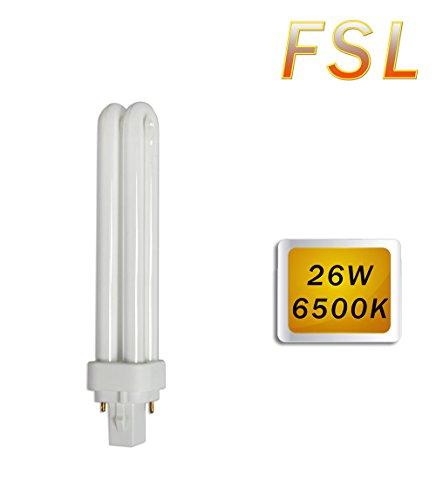 Vetrineinrete Lampadina fluorescente 26 watt attacco plc g24 2 pin luce bianca fredda 6500k compatta bulbo per lampada g24d G61