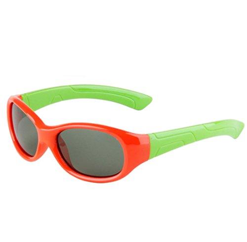 QQBL TR90 Männliche und Weibliche Kinder Sportmode Polarisierte Ultra Licht UV400 Harz Sonnenbrille,Red
