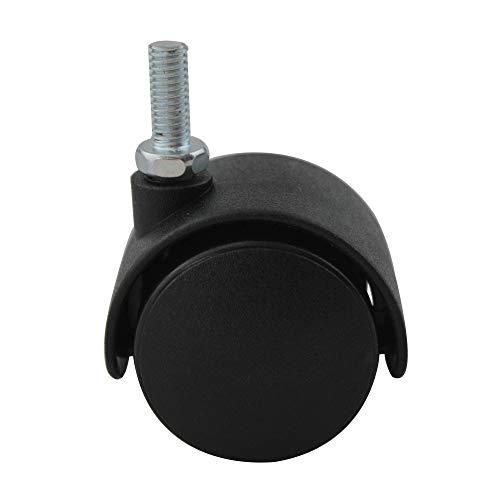 4er Set MS Beschläge® Möbelrolle Hartbodenrolle Lenkrolle ø 40mm aus Kunststoff mit Gewindestift