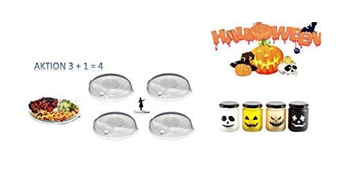 llen-Teller Aktion 3 + 1 = 4 Sie erhalten 4 Menüteller mit Deckel LED Flacker Halloween LED Mini im Glas mit Deckel auch für aussen ()