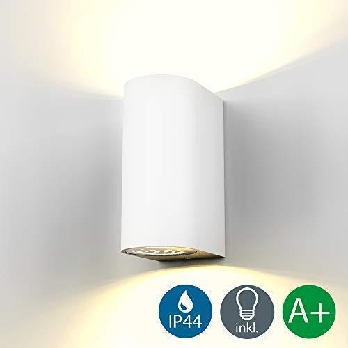 Lampada da parete LED, applique per esterni, include 2 lampadine GU10 da 5W, plafoniera da parete per interni, luce calda 3000K, 800Lm, lampada a muro in metallo bianca, IP44