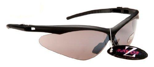 RayZor Professionelle leichtgewichtige Fahrrad-Sonnenbrille, schwarz, UV 400, mit smoked verspiegelter Anti-Blendeffekt-Linse -