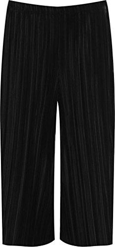 Islander Fashions Damen Short, schwarz (Pleated Culottes)