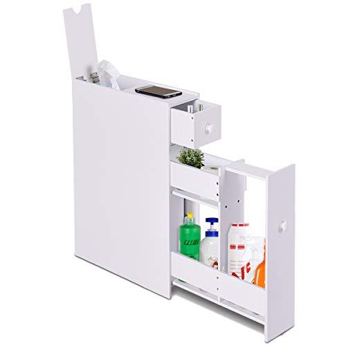 COSTWAY Badschrank Seitenschrank Nischenschrank Standschrank Küchenschrank Beistellschrank Hochschrank Mehrzweckschrank Holz (Weiß)
