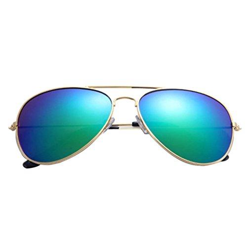 Sunday Moda Gafas de Sol Aviador Polarizado Classic Vidrios Metálico Marco de Las Mujeres y Hombre Sunglasses (B)
