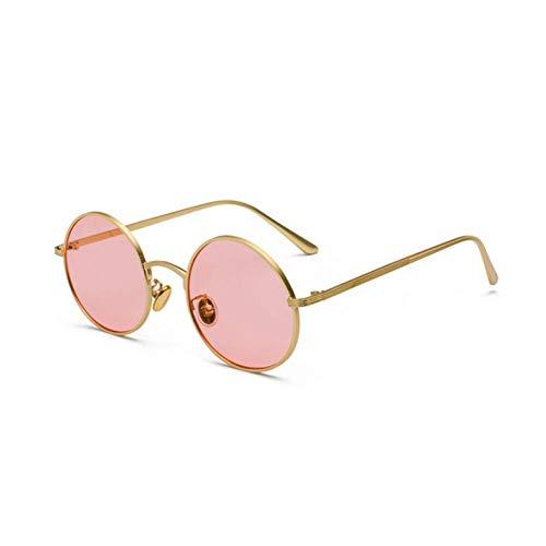 YHEGV Vintage Sonnenbrille Frauen Retro Runde Brille Gelb Trend Metall Sonnenbrille Beschichtung Spiegel Brillen Goggle Gafas De Sol Uv400