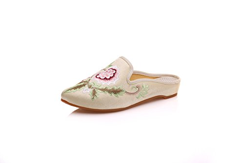 KAFEI Frauen bestickte Schuhe wies Hausschuhe Tangzhuang cheongsam Kostüm Tuch mit, 43, dunkel, weiß (Dunkle Kostüme Frauen)