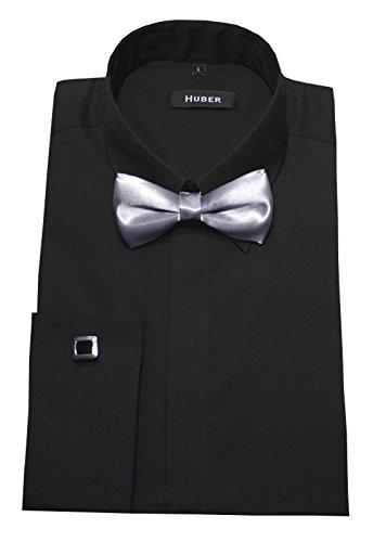 Umschlag Manschetten Hemd schwarz mit Fliege silber HUBER 1362 Slim Fit / Tailliert Größe S bis XXL Schwarz