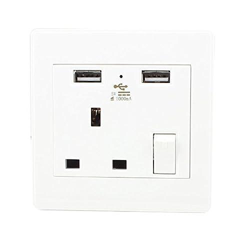 sourcingmap® 110V-250V CA UK Socket 2Port USB de charge DC 5V 1000mA Interrupteur d'alimentation de sortie murale