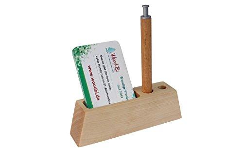 WoodBi | Kompakter Visitenkartenständer aus Holz | Kartenhalter für bis zu 60 Visitenkarten | Handarbeit in Deutschland (Birke Hochformat) -