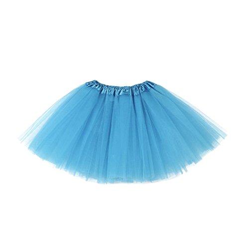 Longra Mädchen Kinder Petticoat Regenbogen Pettiskirt Bowknot Rock Tutu Kleid Dancewear Mädchen Tanzkostüme Tanzkleidung (3-10Jahre, Blue) (Neues Monate Outfit)