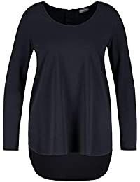 ULLA POPKEN Shirt Oliv//Weiß-Design Carreeausschnitt 3//4-Arm schwarz NEU