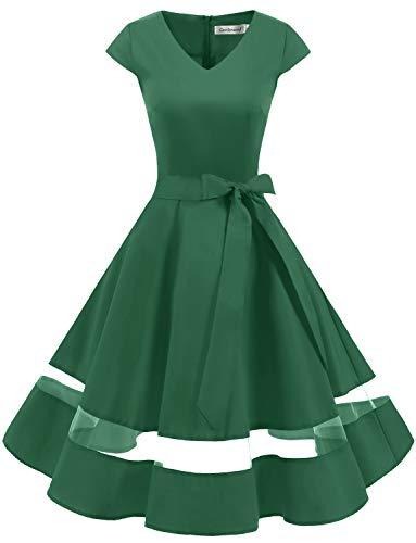 Gardenwed 1950er Vintage Retro Rockabilly Kleider Petticoat Faltenrock Cocktail Festliche Kleider Cap Sleeves Abendkleid Hochzeitkleid Green XS - Grüne Cocktail Frauen Kleider Für