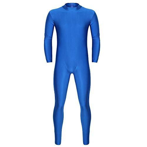 YiZYiF Herren Jumpsuit Overall Langarm Rollkragen Unterhemd Ganzkörperanzug mit Reißverschluss Einteiler Schlafanzug Bodysuit Tanz Sport Yoga Kleidung Blau Large