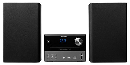 MEDION P64190 Micro Audio System, DAB+, Bluetooth, MP3, UKW/MW, CD, USB, AUX, schwarz (Bluetooth-cd-stereo-anlage)