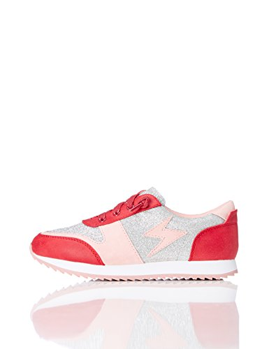 REDWAGON Mädchen Glitzer Sneaker, Rot (Red/Silver), 33 EU (Girls Turnschuhe Kinder)