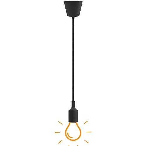 Lampade a Sospensione Lampadari a Soffitto Silicone Nero Moderni con Portalampada E27 Lunghezza Totale 104CM di