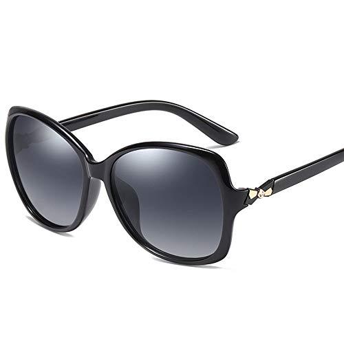 Damenmode runde Sonnenbrille mit Perle, polarisierte Linse, UV-Schutz. Accessoires (Farbe : Schwarz)