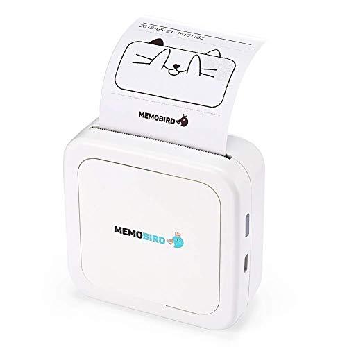 Gaorunli Thermodrucker Mini-Thermodrucker-Handy Bluetooth-Foto-tragbarer Drucker Drahtloser Drucker for Android-iOS-Handy (Color : White)