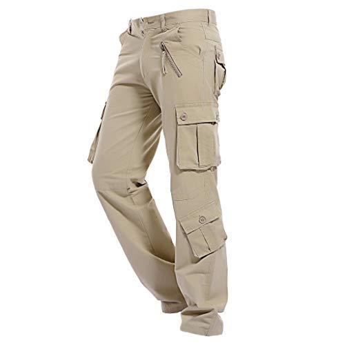 Backbayia Herren Berufsbekleidung aus Baumwolle Männer Lange Hose Freizeithosen (khaki 32)