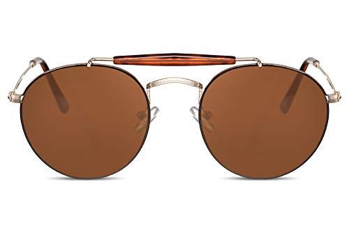 Cheapass Sonnenbrille Rahmenlos Rund-e Piloten-Brille Gold-en Braun UV-400 Designer-Brille Metall Unisex