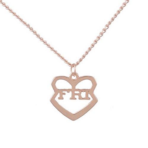 MJartoria Damen Kette Rosagold Farbe Drei Herz Anhänger Freundschaftsketten mit Gravur Best Friends Forever BFF Halskette 3 Stück (Rosagold Farbe)