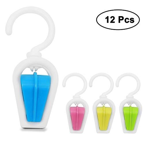 BELLE VOUS (12 STK.) Vorhang Clips Haken - Vorhang Clips - schwenkbare Wäscheklammern - Wäschetrockner Clips mit Haken - Kunststoff wäscheklammern Clips - Plastik Drehbare Wäscheklammer außen innen