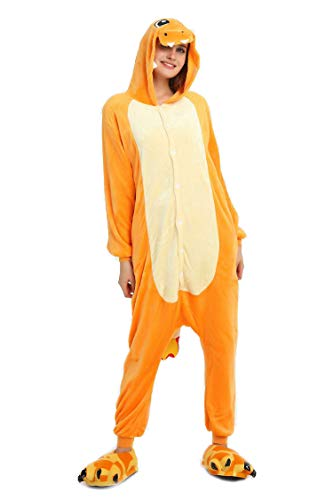 Tuopuda Pyjama Licorne Adulte Unisexe Kigurumi Combinaison Animaux Cosplay Costume Halloween Noel Party Soirée de Déguisement, Charmander, S (147-157 cm Height)