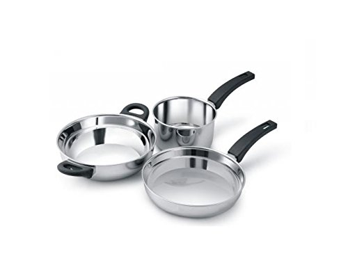 Alda Induction Friendly Stainless Steel Cookware Gift Set - 3 Piece (1-Wok Pan 24 cm, 1-Fry Pan 24 cm, 1-Sauce Pan 16 cm)  available at amazon for Rs.699