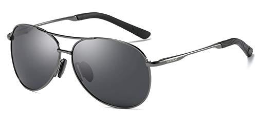 WHCREAT Herren Klassisch Unisex Sonnenbrille Polarisierte mit Ultraleicht Verstellbaren Metallrahmen HD-Linse - Metallisches Grau Rahmen Schwarz Linse