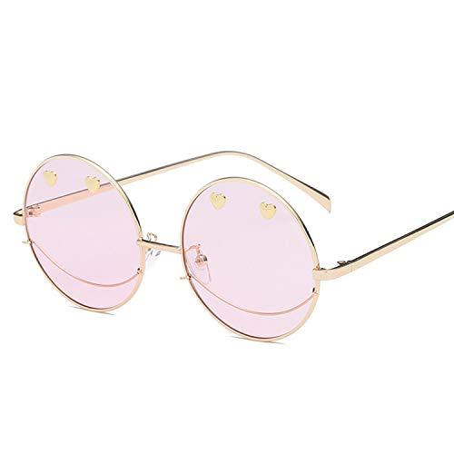 ShengEnn Frauen Reisen Reiten Strand Leicht zu tragende Sonnenbrille - Mode Smiley Dekorative Brille Männer und Frauen Persönlichkeit Lächeln Straße schießen Goldrahmen rosa Linse