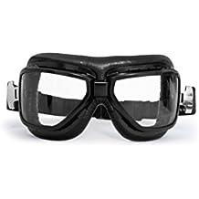 BERTONI Gafas Aviadoras de Moto para Abarcar Las Gafas de Vista - Montura de Acero Negro