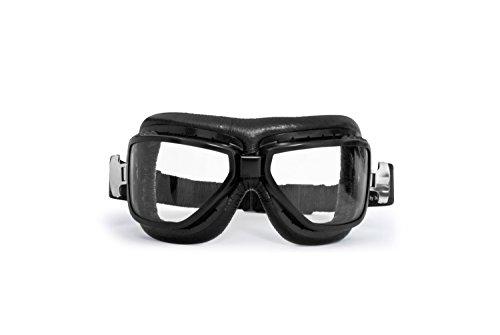 Gafas Aviadoras de Moto para Abarcar las Gafas de Vista – Montura de Acero Negro Matte – Lentes Antivaho – AF194A by Bertoni Italy – Gafas Motoristas para Cascos Moto Harley y Chopper