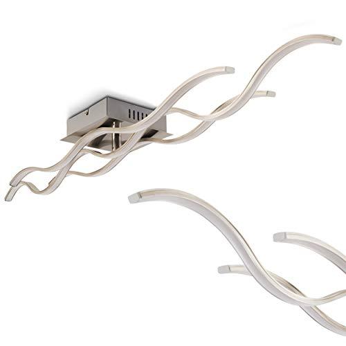 Designer-Deckenlampe im minimalistischen Design – LED-Deckenleuchte – wellenförmige Lichtleiste mit fest installierten LED-Glühlichtern – Metall-Leuchte in Nickel mit