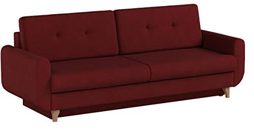 mb-moebel Modernes Sofa Schlafsofa Kippsofa mit Schlaffunktion Klappsofa Bettfunktion mit Bettkasten Couchgarnitur Couch Sofagarnitur 3er Saphir (Rot)