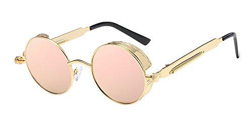 BOZEVON Punk Runde Sonnenbrille - Klassische Metall Radfahren Retro Sonnenbrille für Damen & Herren Gold-Pink