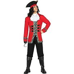 Disfraz de capitán pirata, color negro y rojo, XL.