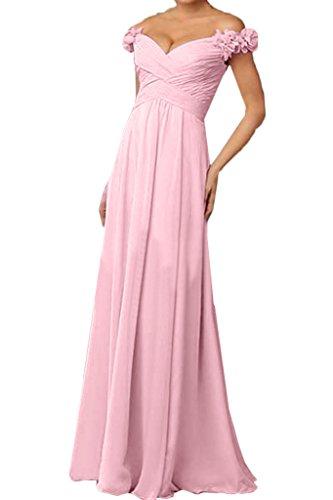 ivyd ressing Donna a partire dalla spalla con fiori Chiffon Party Festa Prom abito abito sera vestito Rosa