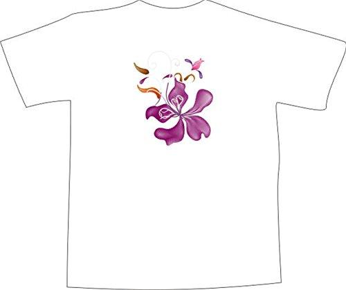 T-Shirt F1042 Schönes T-Shirt mit farbigem Brustaufdruck - lila Orchideenblüte Schwarz